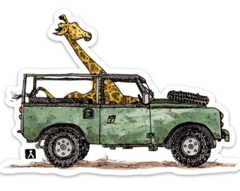 BellavanceInk: Giraffe On Safari Driving Their Land Rover Ink/Watercolor Style Vinyl Sticker Illustration