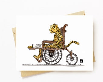 BellavanceInk: Get Well Card With Injured Cheetah In A Wheelchair With Cast  5 x 7 Inches