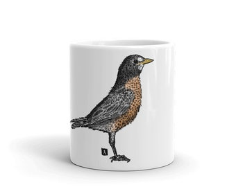 BellavanceInk: Coffee Mug With An American Robin Pen And Ink/Watercolor Illustration
