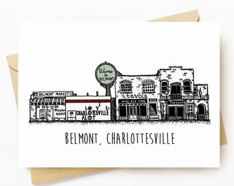 BellavanceInk: Greeting Card Of Downtown Belmont in Charlottesville Virginia 5 x 7 Inches