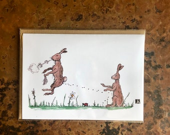 BellavanceInk: Get Well Card With Rabbit Dealing With Allergeies/Cold 5 x 7 Inches