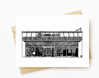 BellavanceInk: Greeting Card With A Pen & Ink Drawing Of Reid Supermarket Grocery In Charlottesville 5 x 7 Inches