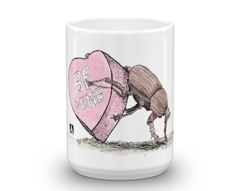 BellavanceInk: Coffee Mug With Pen & Ink Watercolor Sketch Of A Beetle Pushing A Valentines Day Candy Heart