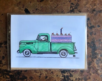 BellavanceInk: Birthday Card With Duck In A Truck Hauling A Birthday Cake Pen & Ink Watercolor Illustration 5 x 7 Inches