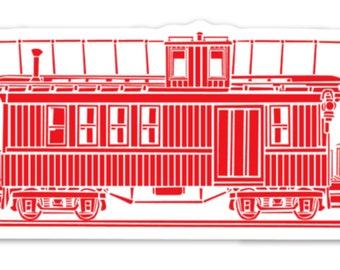 BellavanceInk: Vintage Train Caboose Vinyl Sticker Illustration