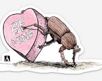 BellavanceInk: Dung Beetle Pushing A Valentine Pen & Ink Drawing On A Vinyl Sticker