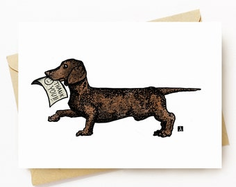 BellavanceInk: Thank You Card With Wiener Dog Dachshund Holding Thank You Note Graphic 5 x 7 Inches