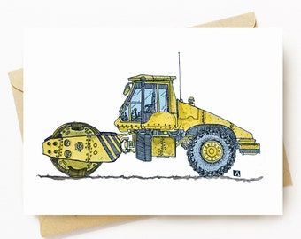 BellavanceInk: Greeting Card With Steam Roller Watercolor Pen & Ink Illustration 5 x 7 Inches