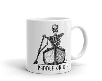 BellavanceInk: Coffee Mug With Pen & Ink Drawing Of Skeleton In A Canoe