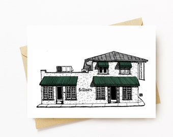 BellavanceInk: Greeting Card With A Pen & Ink Drawing Of Fellini's Restaurant in Downtown Charlottesville Virginia  5 x 7 Inches