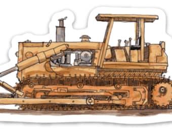 BellavanceInk: Construction Bull Dozer Pen & Ink Watercolor Vinyl Sticker Illustration