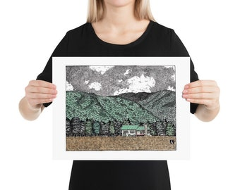BellavanceInk: Pen & Ink Watercolor Sketch of Farm House In Crozet Nestled In Front of the Mountains