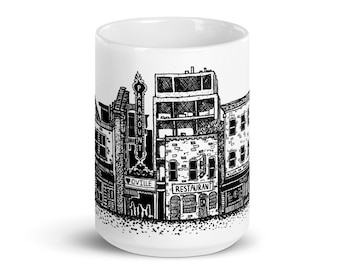 BellavanceInk: Coffee Mug With Pen & Ink Sketch Of Downtown Charlottesville Popular Shops