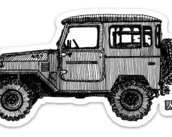 BellavanceInk: Vintage All Terrain Vehicle FJ40 Vinyl Sticker Illustration