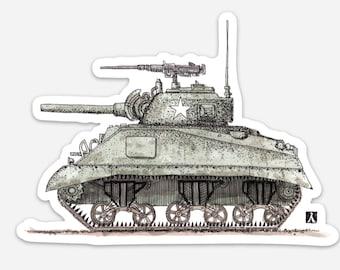 BellavanceInk: Vintage Sherman Tank Vinyl Sticker Hand Drawn Illustration