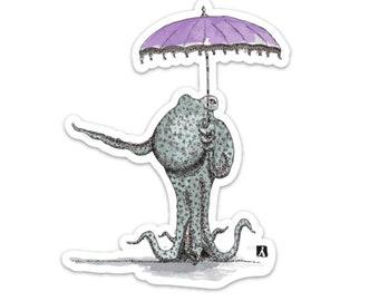 BellavanceInk: Octopus With Parasol/Umbrella Vinyl Sticker Pen and Ink Illustration