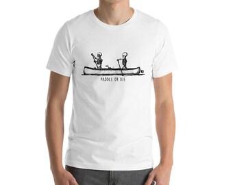 """BellavanceInk: Skeletons Canoeing """"Paddle Or Die"""" Short Sleeve T-Shirt"""