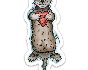 BellavanceInk: I Love You Otter Vinyl Sticker Pen and Ink Illustration