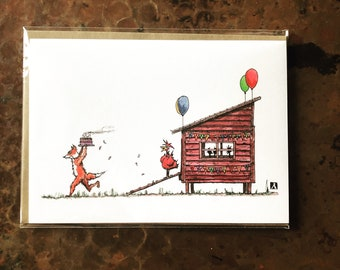 BellavanceInk: Birthday Card With Crafty Fox Stealing The Hens Birthday Cake Pen & Ink Watercolor Illustration 5 x 7 Inches