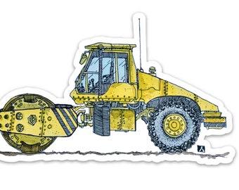 BellavanceInk: Construction Vehicle Sticker Of A Steam Roller Vinyl Sticker Hand Drawn Illustration