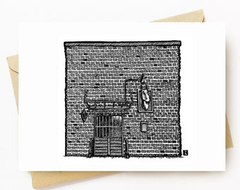 BellavanceInk: Greeting Card With A Pen & Ink Drawing Of The Livery Stable Bar In Charlottesville Along West Main St 5 x 7 Inches