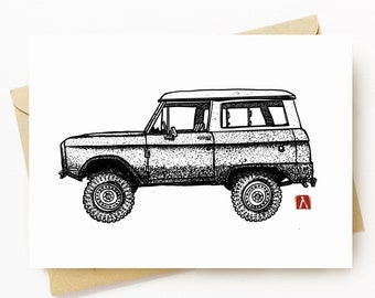 BellavanceInk: Greeting Card With A Pen & Ink Drawing Of A Vintage Bronco Truck 5 x 7 Inches