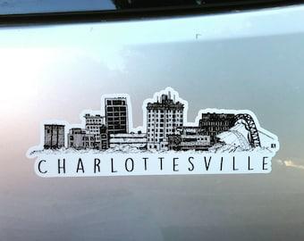 BellavanceInk: Charlottesville City Vinyl Sticker With Skyline View Pen and Ink Illustration