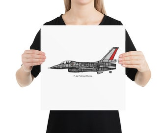 BellavanceInk: Pen & Ink Drawing/Watercolor of a F16 Fighting Falcon Jet