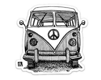 BellavanceInk: Vintage Hippie Peace Bus Vinyl Sticker Illustration