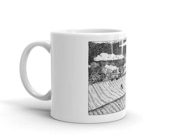 BellavanceInk: Coffee Mug With Pen & Ink Sketch Of Farm Along Ivy Road Near Charlottesville
