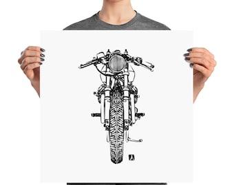 BellavanceInk: Ink Brush Drawing of a Vintage Cafe Racer Motorcycle