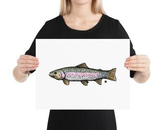 BellavanceInk: Pen & Ink/Watercolor Drawing Of Rainbow Trout Fish