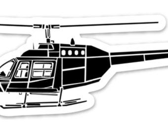 BellavanceInk: Vintage Bell Ranger Helicopter Vinyl Sticker Illustration