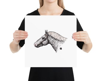 BellavanceInk: Pen & Ink/Watercolor Print Of Percheron Horse Head