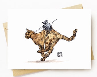 BellavanceInk: Greeting Card With A Pen & Ink Drawing Of A Rat Riding A Saddled Cat 5 x 7 Inches