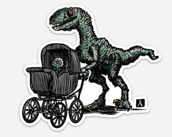BellavanceInk: Sticker With Velociraptor Dinosaur With Baby Pen & Ink Watercolor Illustration