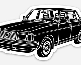 BellavanceInk: Vintage Swedish 240 DL Sedan Vinyl Sticker Illustration