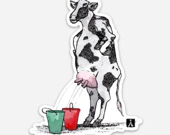 BellavanceInk: Disturbing Cow Standing While Milking Illustration On A Vinyl Sticker