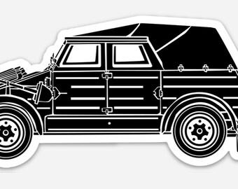 BellavanceInk: Vintage Kugel Wagen Car Vinyl Sticker Hand Drawn Illustration