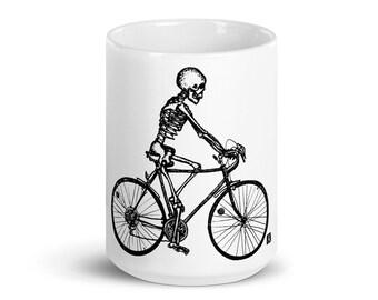 BellavanceInk: Coffee Mug With Pen & Ink Drawing Of Skeleton Riding Their 10 Speed Bike