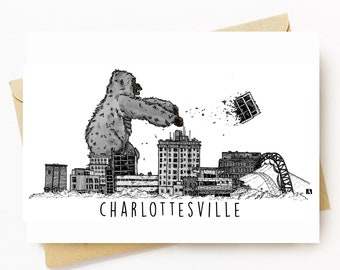 BellavanceInk: Greeting Card With King Kong Attacking The Charlottesville Landmark Hotel 5 x 7 Inches