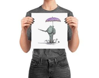 BellavanceInk: Pen & Ink Drawing of Octopus Holding a Umbrella Parasol