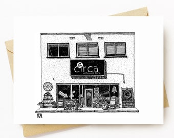 BellavanceInk: Greeting Card With A Pen & Ink Drawing Of Circa Antique Shop Charlottesville  5 x 7 Inches