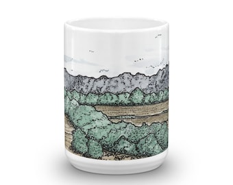 BellavanceInk: Coffee Mug With Pen & Ink Watercolor Sketch Of Farm Near Crozet, Virginia