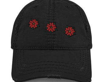 BellavanceInk: Vintage Looking Ball Cap With Crozet Flag Flower Embroidery