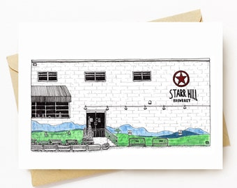 BellavanceInk: Greeting Card With A Pen & Ink Drawing/Watercolor Of Starr Hill Brewery in Crozet, Virginia 5 x 7 Inches