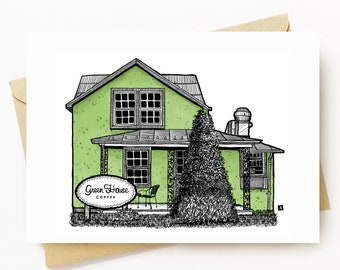 BellavanceInk: Greeting Card With A Pen & Ink Drawing Of Greenhouse Coffee Shop In Crozet 5 x 7 Inches
