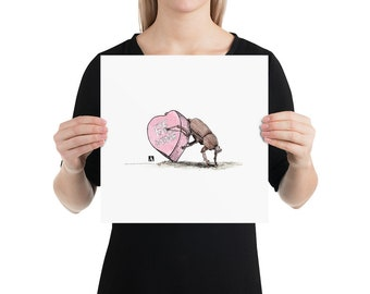 BellavanceInk: Limited Print Pen & Ink/Watercolor Sketch of Dung Beetle Pushing A Valentines Day Heart