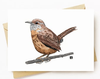BellavanceInk: Greeting Card With Wren On A Tree Branch Pen & Ink Watercolor Illustration 5 x 7 Inches