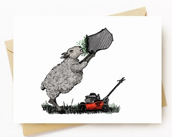 BellavanceInk: Greeting Card With A Pen & Ink Drawing With Watercolor of a Hungry Sheep Mowing The Lawn 5 x 7 Inches
